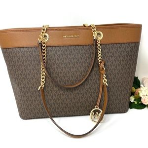 Michael Kors Shania Chain Tote Brown Leather Large